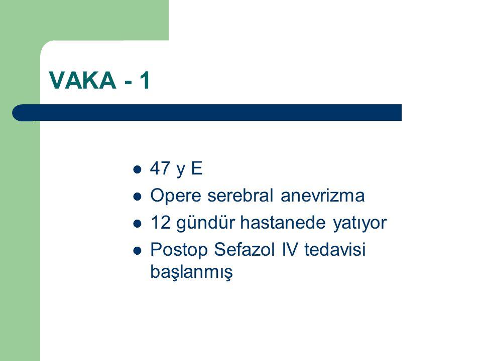 VAKA - 1 47 y E Opere serebral anevrizma 12 gündür hastanede yatıyor