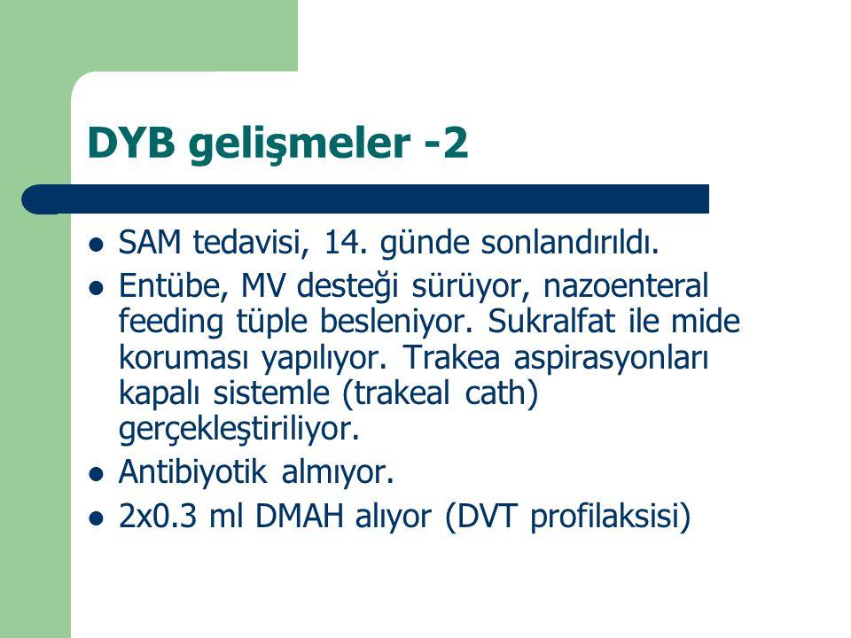 DYB gelişmeler -2 SAM tedavisi, 14. günde sonlandırıldı.