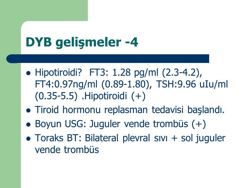 DYB gelişmeler -4 Hipotiroidi FT3: 1.28 pg/ml (2.3-4.2), FT4:0.97ng/ml (0.89-1.80), TSH:9.96 uIu/ml (0.35-5.5) .Hipotiroidi (+)