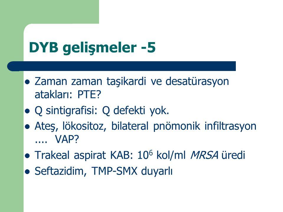 DYB gelişmeler -5 Zaman zaman taşikardi ve desatürasyon atakları: PTE