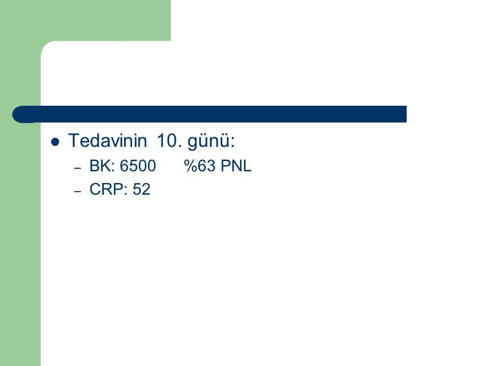 Tedavinin 10. günü: BK: 6500 %63 PNL CRP: 52