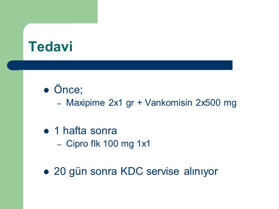 Tedavi Önce; 1 hafta sonra 20 gün sonra KDC servise alınıyor