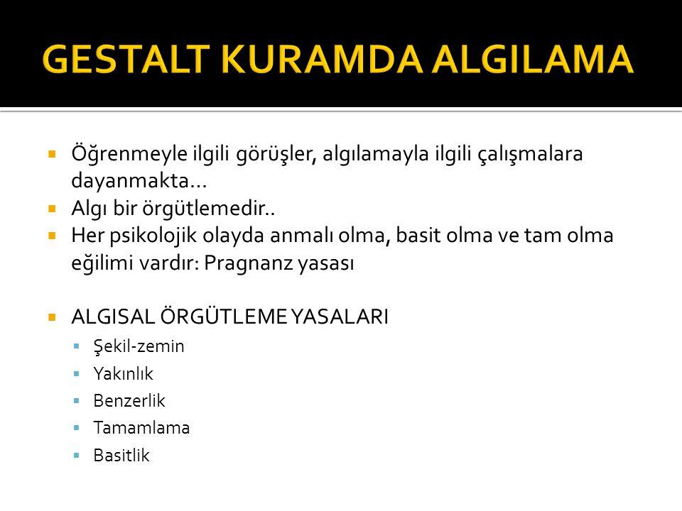 GESTALT KURAMDA ALGILAMA