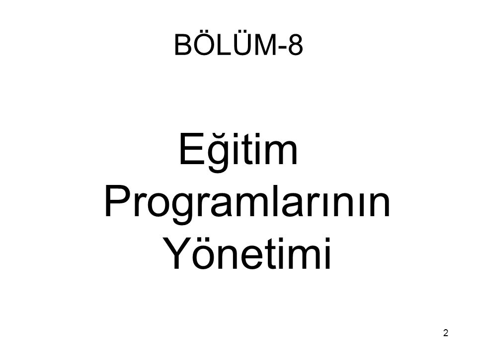 Eğitim Programlarının Yönetimi