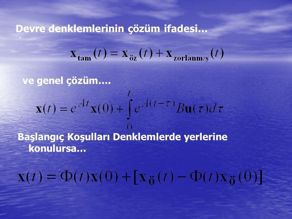 Devre denklemlerinin çözüm ifadesi…