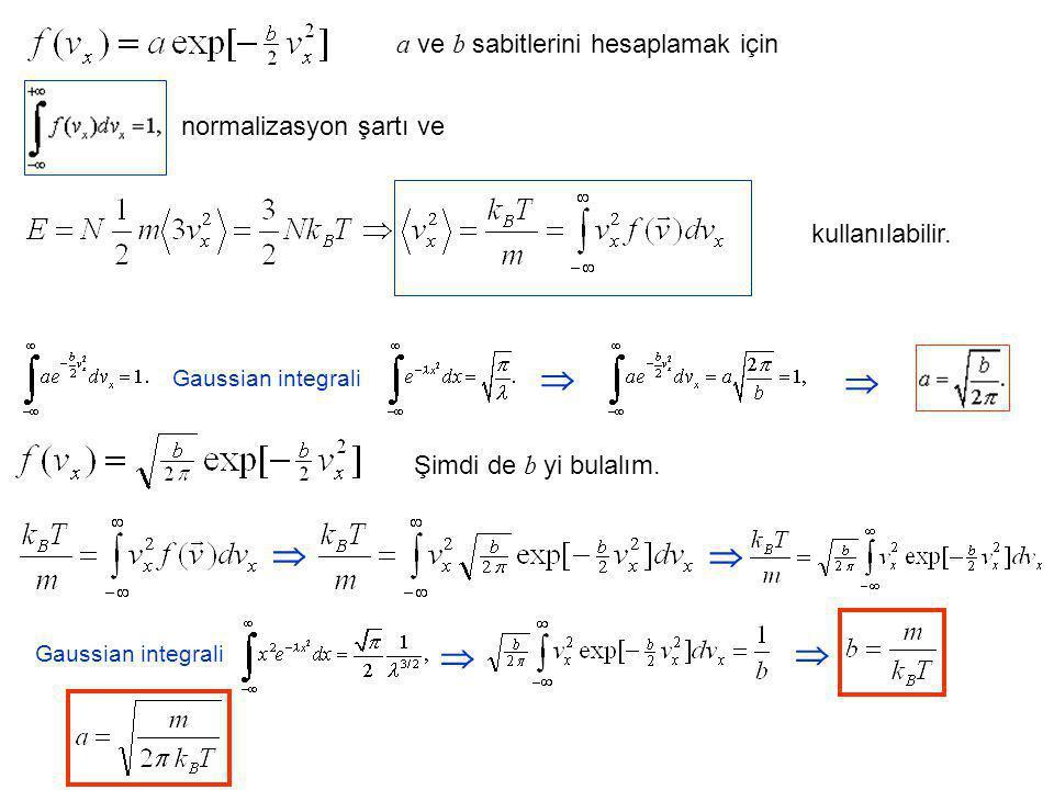       a ve b sabitlerini hesaplamak için normalizasyon şartı ve