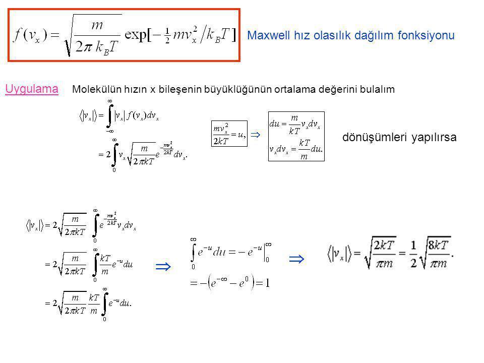   Maxwell hız olasılık dağılım fonksiyonu Uygulama