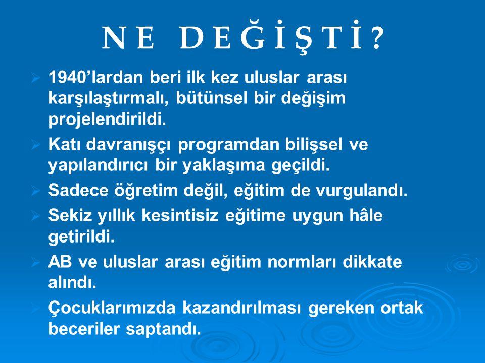 N E D E Ğ İ Ş T İ 1940'lardan beri ilk kez uluslar arası karşılaştırmalı, bütünsel bir değişim projelendirildi.