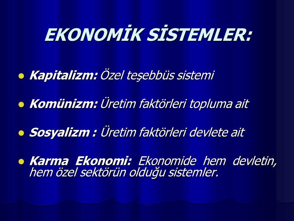 EKONOMİK SİSTEMLER: Kapitalizm: Özel teşebbüs sistemi