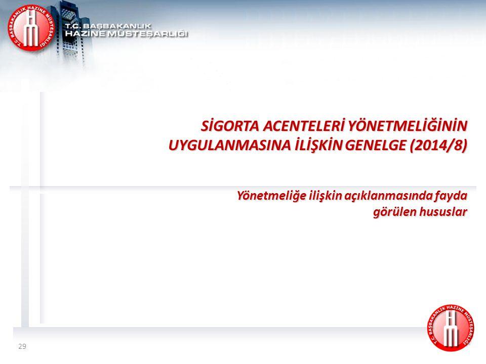 SİGORTA ACENTELERİ YÖNETMELİĞİNİN UYGULANMASINA İLİŞKİN GENELGE (2014/8)