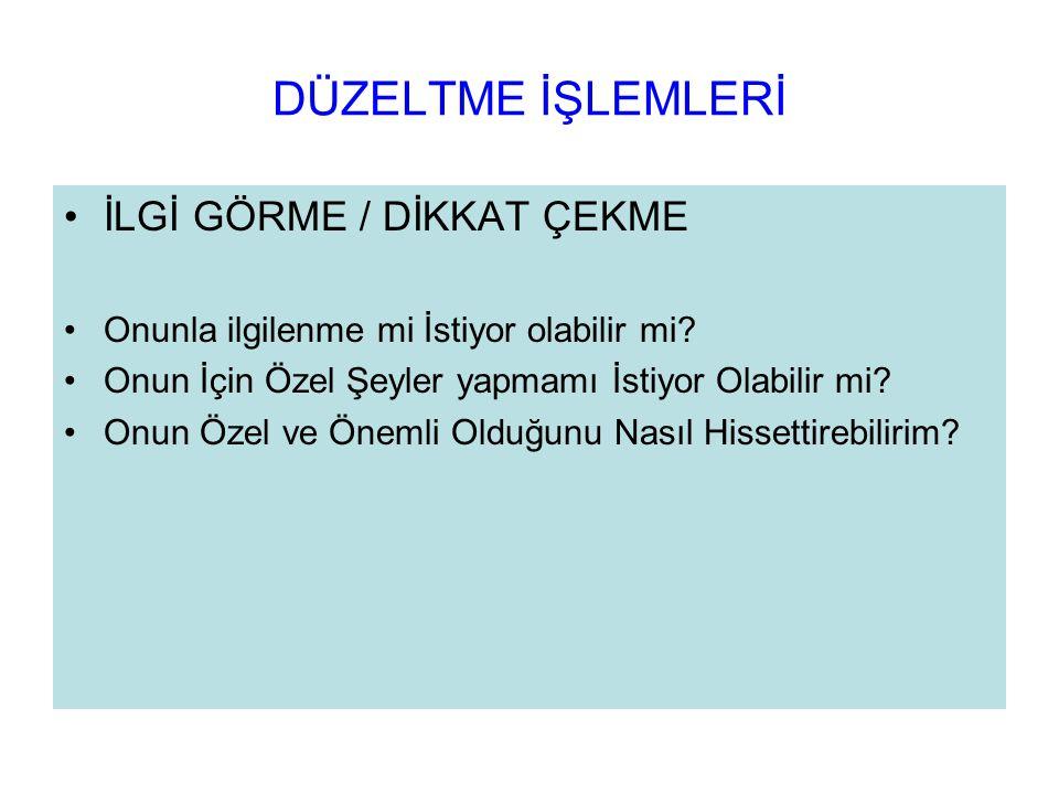 DÜZELTME İŞLEMLERİ İLGİ GÖRME / DİKKAT ÇEKME
