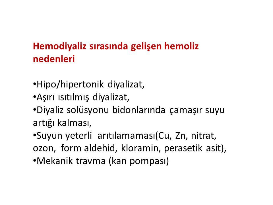 Hemodiyaliz sırasında gelişen hemoliz nedenleri
