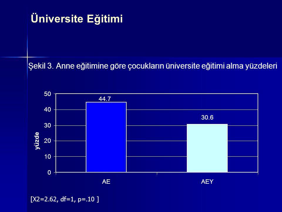 Üniversite Eğitimi Şekil 3. Anne eğitimine göre çocukların üniversite eğitimi alma yüzdeleri. 50. 44.7.