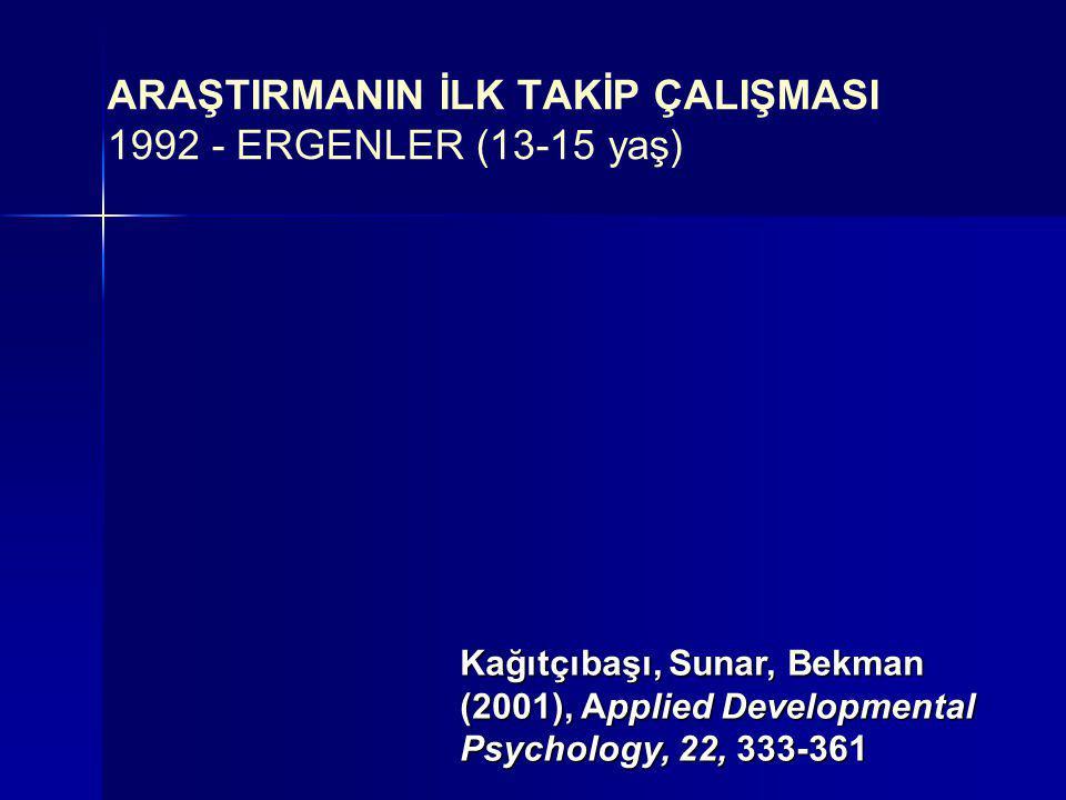ARAŞTIRMANIN İLK TAKİP ÇALIŞMASI 1992 - ERGENLER (13-15 yaş)