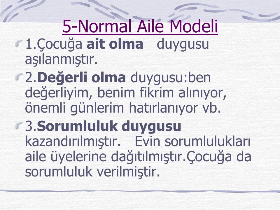 5-Normal Aile Modeli 1.Çocuğa ait olma duygusu aşılanmıştır.