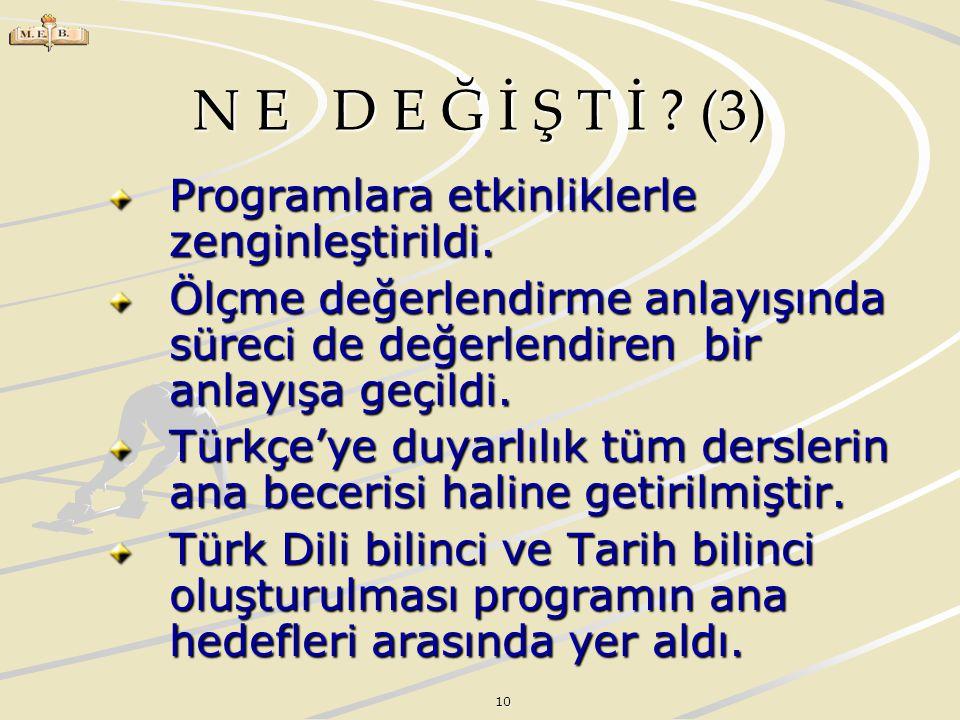 N E D E Ğ İ Ş T İ (3) Programlara etkinliklerle zenginleştirildi.
