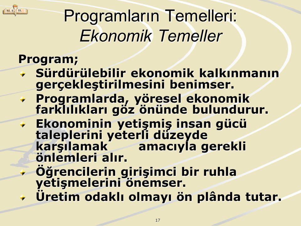 Programların Temelleri: Ekonomik Temeller