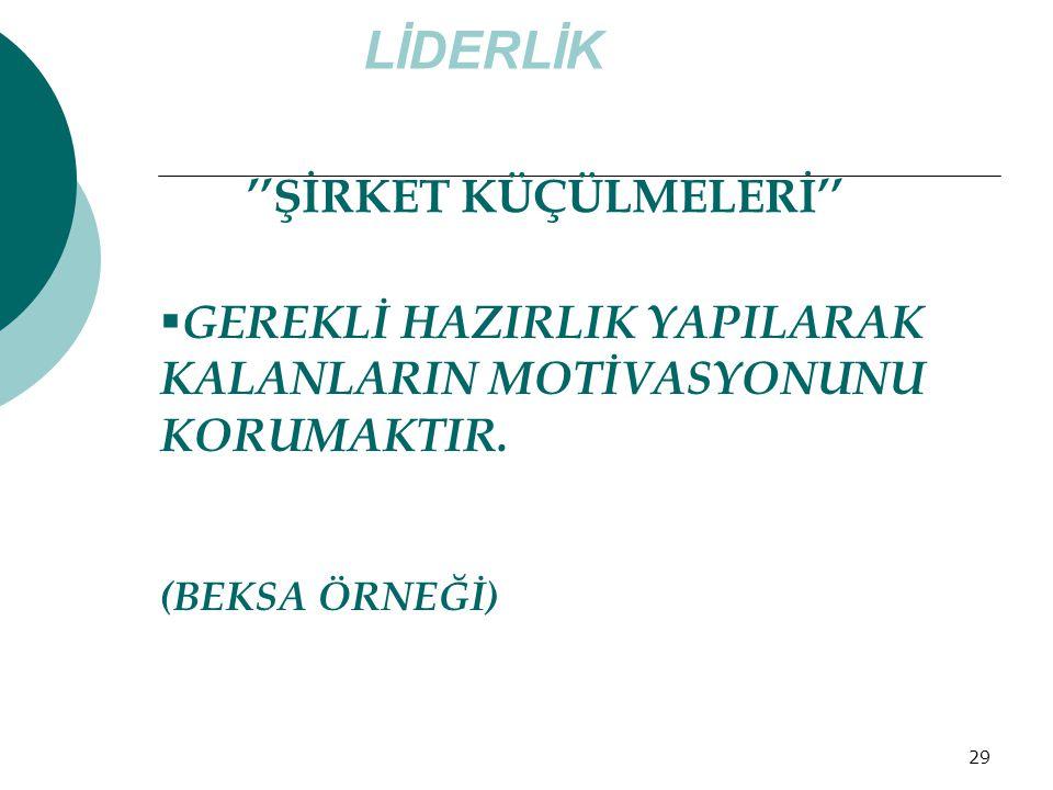 LİDERLİK ''ŞİRKET KÜÇÜLMELERİ''