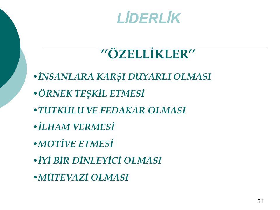 LİDERLİK ''ÖZELLİKLER'' İNSANLARA KARŞI DUYARLI OLMASI