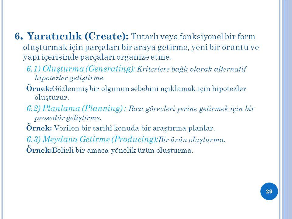 6. Yaratıcılık (Create): Tutarlı veya fonksiyonel bir form oluşturmak için parçaları bir araya getirme, yeni bir örüntü ve yapı içerisinde parçaları organize etme.