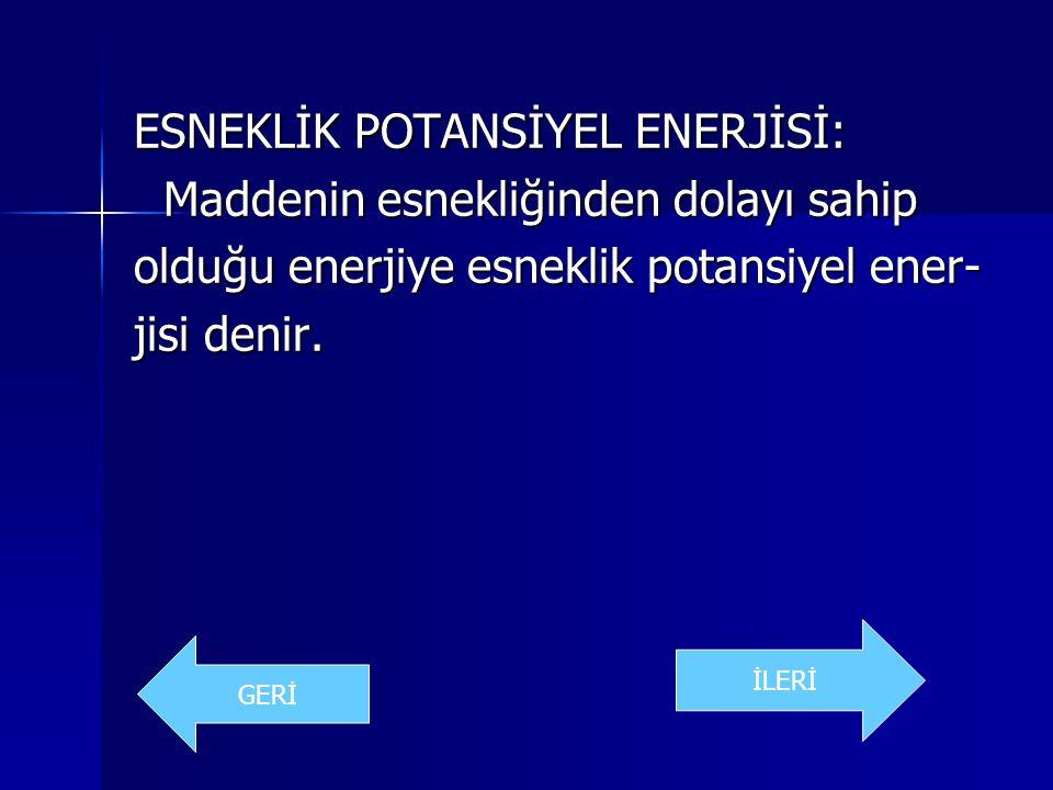 ESNEKLİK POTANSİYEL ENERJİSİ: Maddenin esnekliğinden dolayı sahip