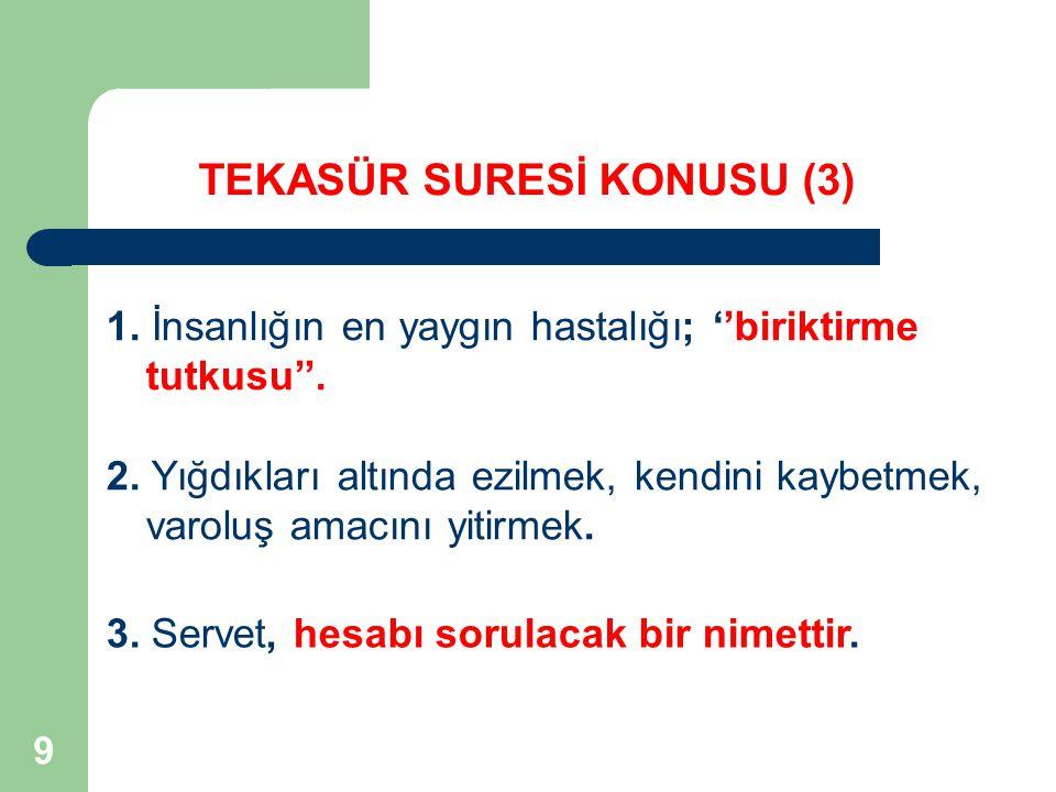 TEKASÜR SURESİ KONUSU (3)
