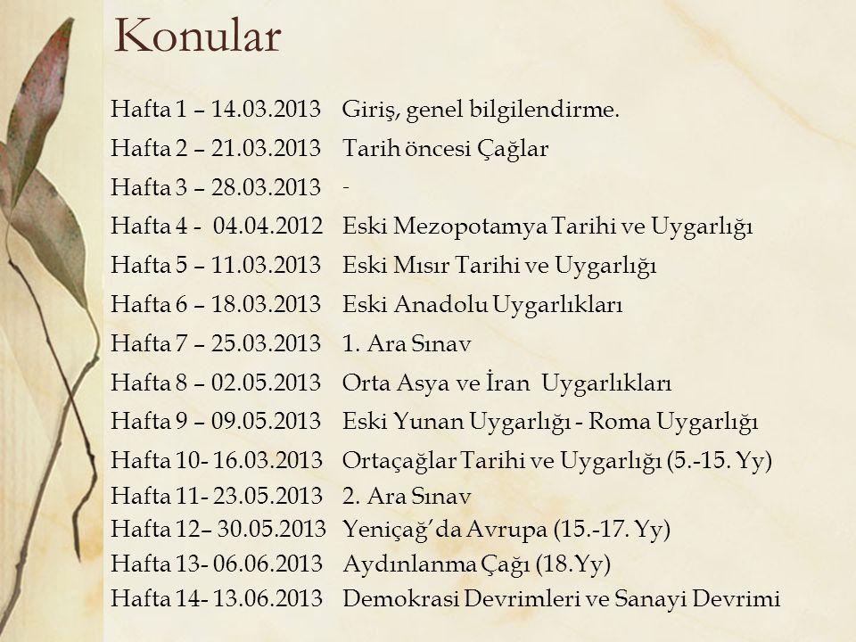 Konular Hafta 1 – 14.03.2013 Giriş, genel bilgilendirme.