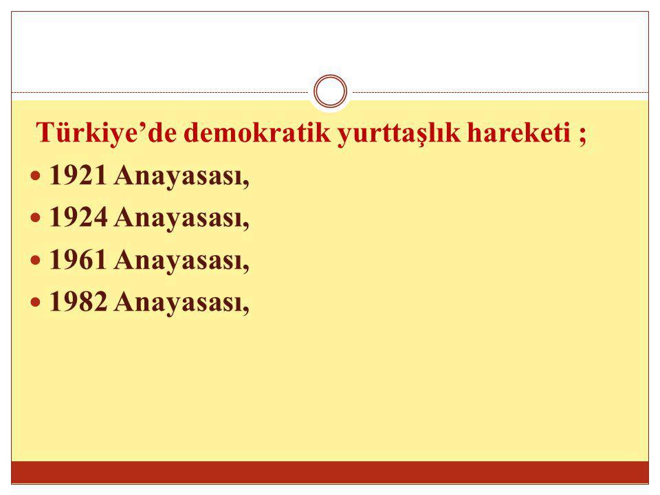 Türkiye'de demokratik yurttaşlık hareketi ;