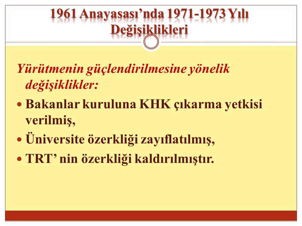 1961 Anayasası'nda 1971-1973 Yılı Değişiklikleri