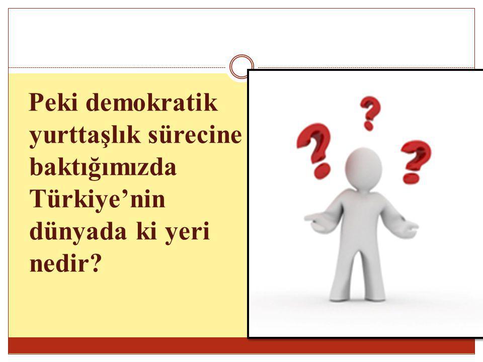 Peki demokratik yurttaşlık sürecine baktığımızda Türkiye'nin dünyada ki yeri nedir
