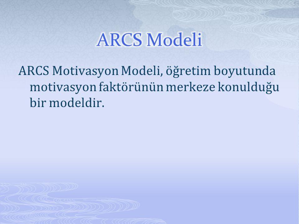 ARCS Modeli ARCS Motivasyon Modeli, öğretim boyutunda motivasyon faktörünün merkeze konulduğu bir modeldir.