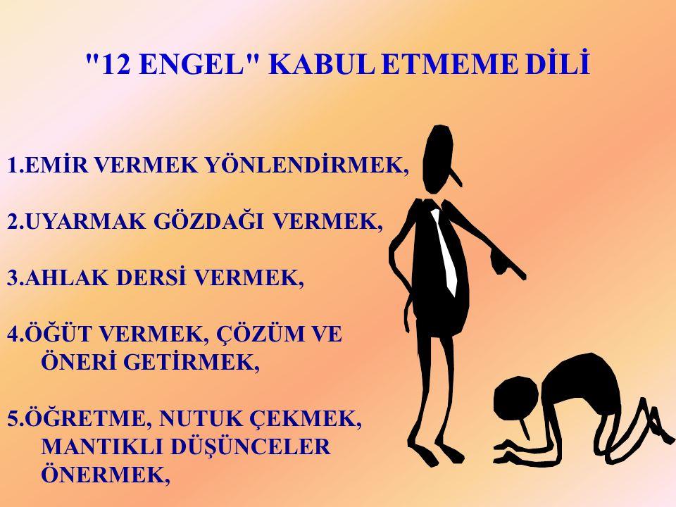 12 ENGEL KABUL ETMEME DİLİ
