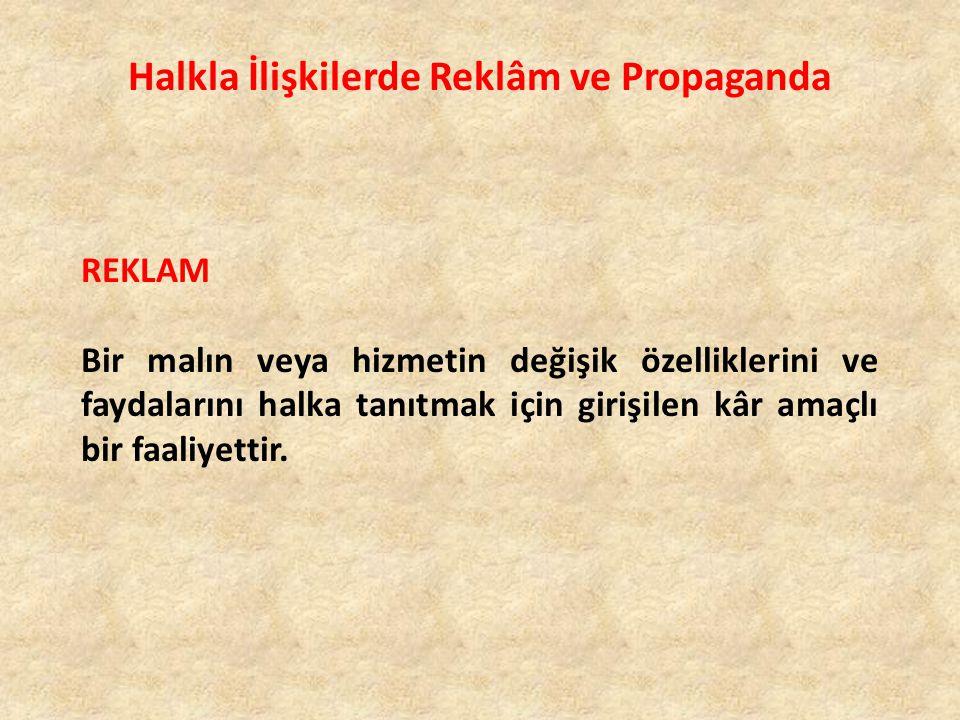 Halkla İlişkilerde Reklâm ve Propaganda