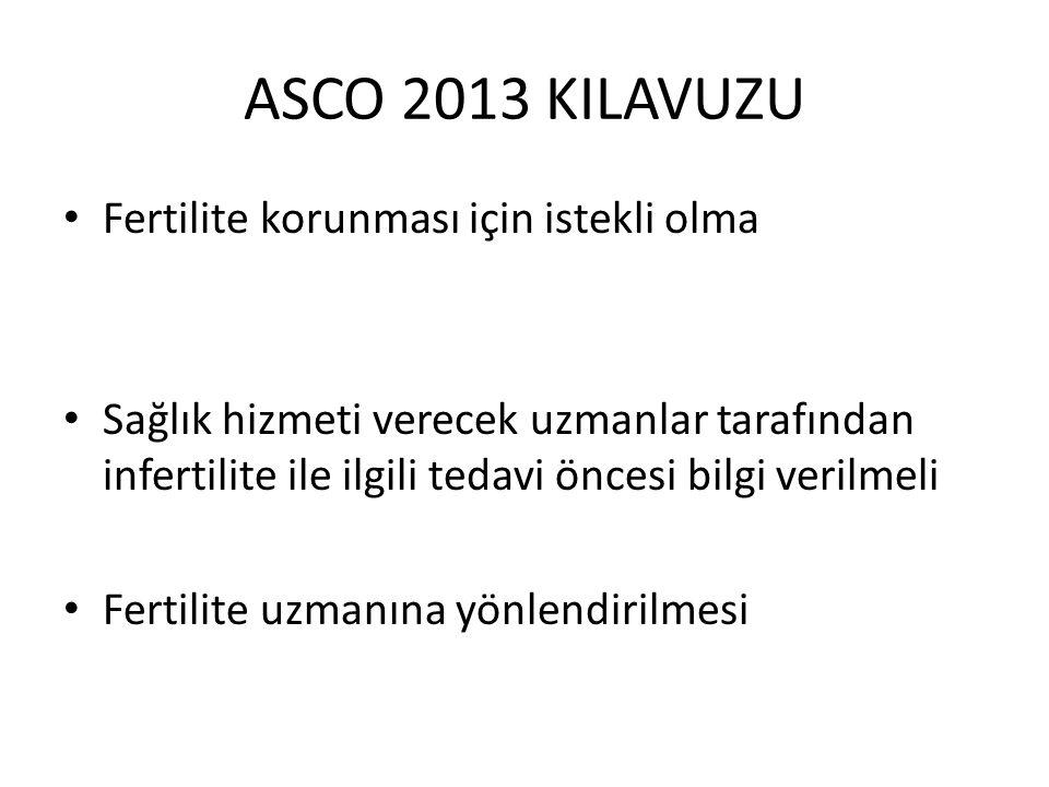 ASCO 2013 KILAVUZU Fertilite korunması için istekli olma