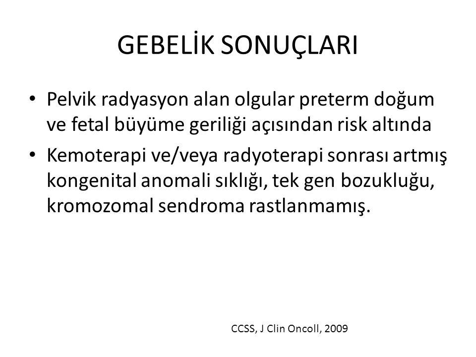 GEBELİK SONUÇLARI Pelvik radyasyon alan olgular preterm doğum ve fetal büyüme geriliği açısından risk altında.