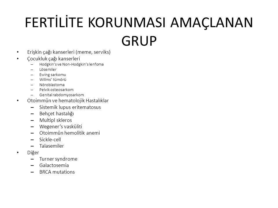 FERTİLİTE KORUNMASI AMAÇLANAN GRUP