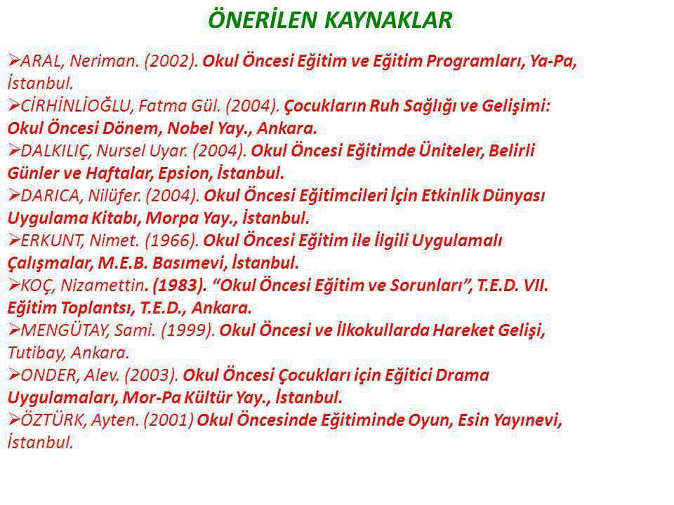 ÖNERİLEN KAYNAKLAR ARAL, Neriman. (2002). Okul Öncesi Eğitim ve Eğitim Programları, Ya-Pa, İstanbul.