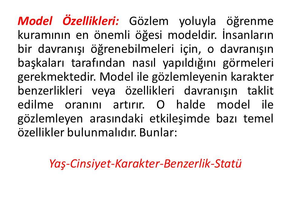 Model Özellikleri: Gözlem yoluyla öğrenme kuramının en önemli öğesi modeldir.