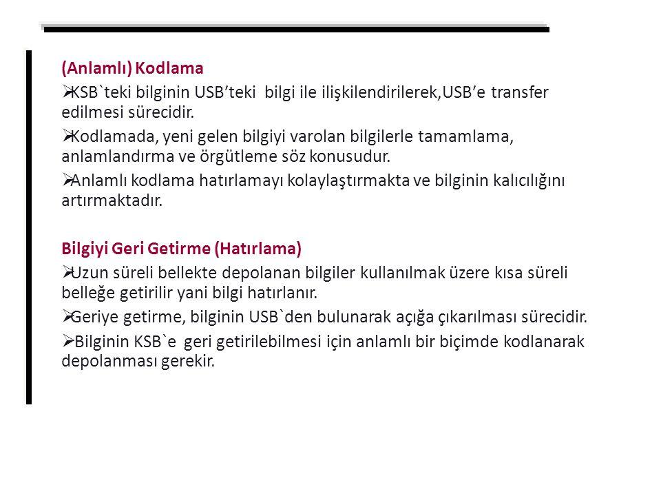 (Anlamlı) Kodlama KSB`teki bilginin USB′teki bilgi ile ilişkilendirilerek,USB′e transfer edilmesi sürecidir.
