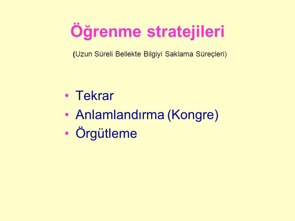Öğrenme stratejileri (Uzun Süreli Bellekte Bilgiyi Saklama Süreçleri)