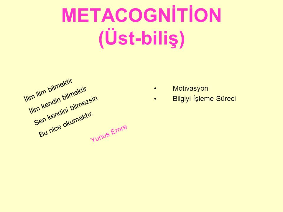 METACOGNİTİON (Üst-biliş)
