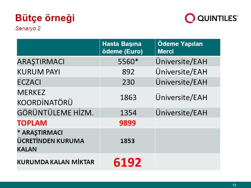 6192 Bütçe örneği ARAŞTIRMACI 5560* Üniversite/EAH KURUM PAYI 892