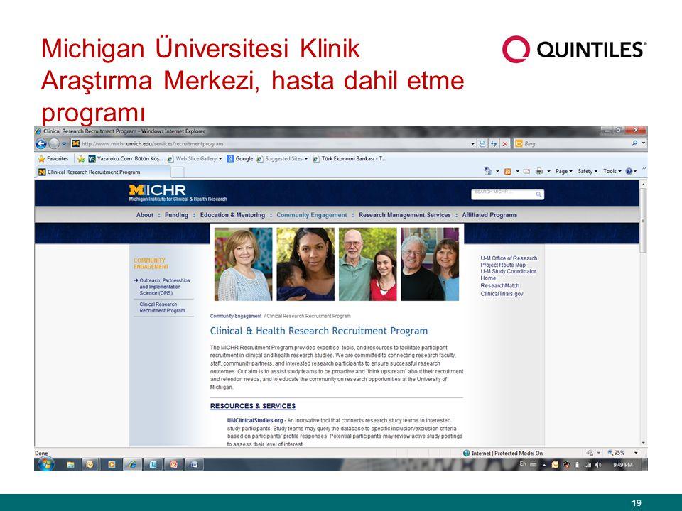 Michigan Üniversitesi Klinik Araştırma Merkezi, hasta dahil etme programı