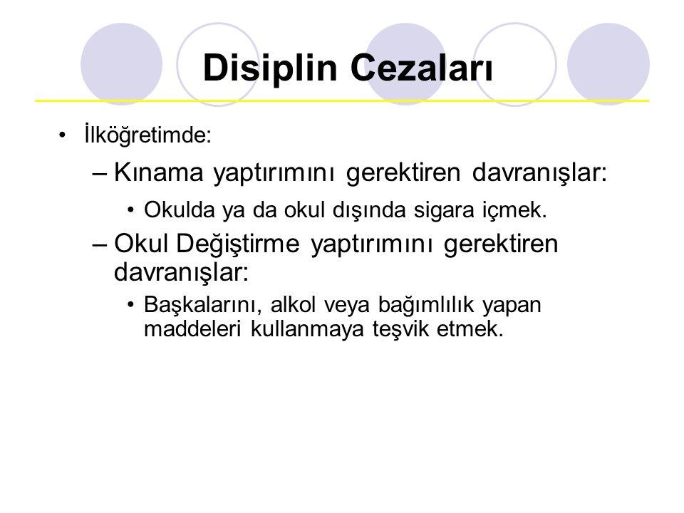 Disiplin Cezaları Kınama yaptırımını gerektiren davranışlar: