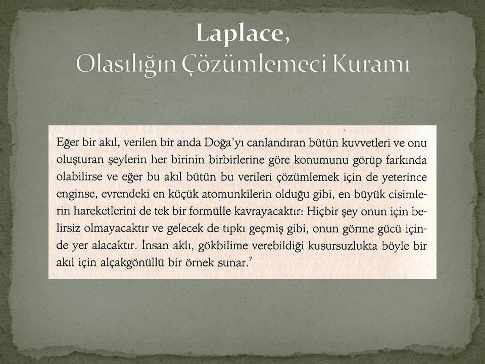 Laplace, Olasılığın Çözümlemeci Kuramı