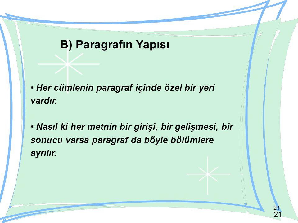 B) Paragrafın Yapısı Her cümlenin paragraf içinde özel bir yeri vardır.