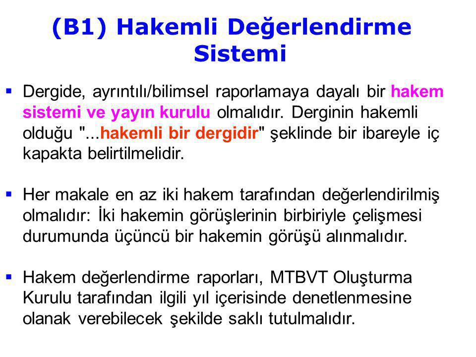 (B1) Hakemli Değerlendirme Sistemi