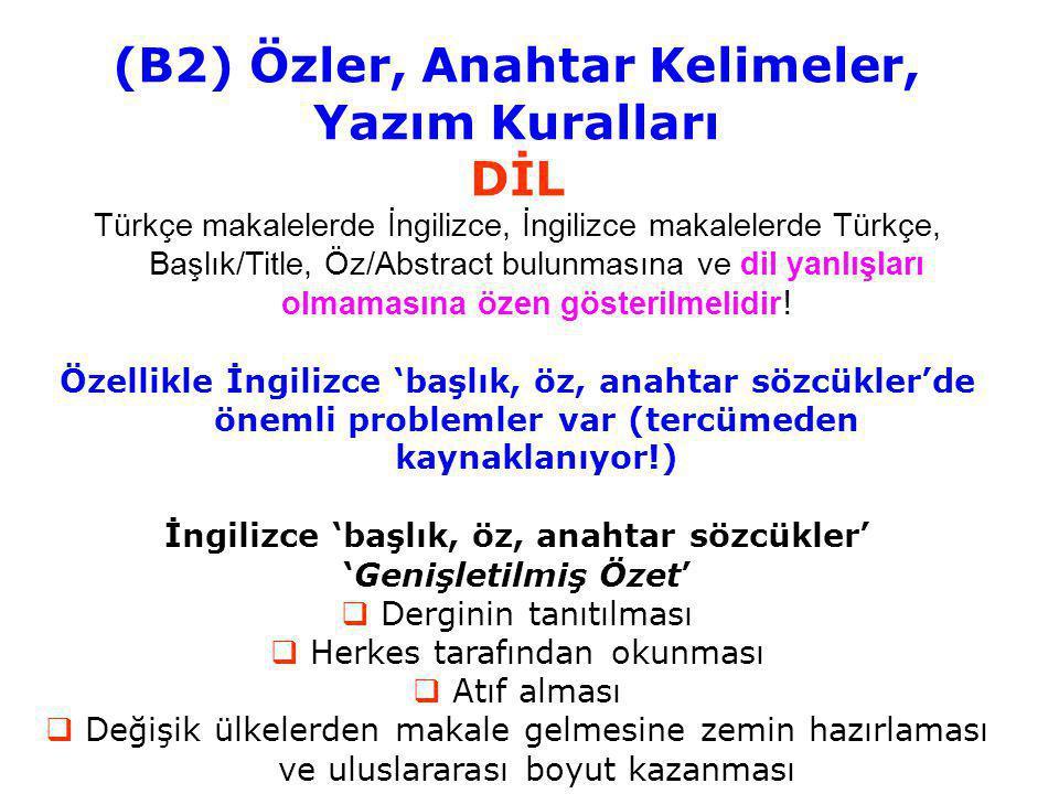 (B2) Özler, Anahtar Kelimeler, Yazım Kuralları DİL