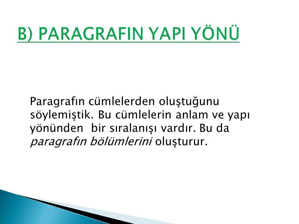 B) PARAGRAFIN YAPI YÖNÜ