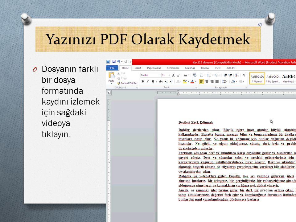 Yazınızı PDF Olarak Kaydetmek